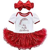 YiZYiF Pelele Vestido De Navidad Falda Diadema para Bebé Niñas 3-24 Meses Traje Mameluco