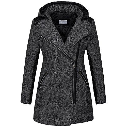 Warmer Damen Winter Wollmantel melierter Woll Parka Jacke Kunstleder B272 [B272-Dunkelgrau-Gr.L]