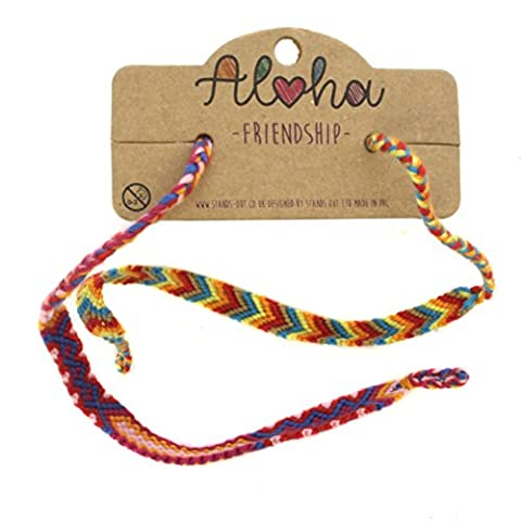 Twin Set Bright Primary Colours Chunky Woven Festival Two Bands Unisex Friendship Bracelet Perfect for Beach Summer Season Wristband