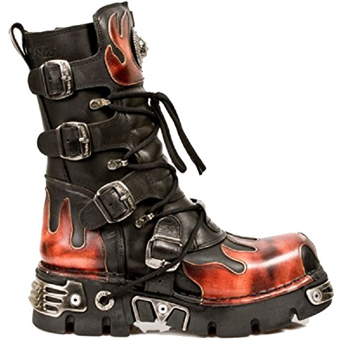 Stivali di lunghezza nera della nuova roccia nera con fiamme e solette di reattore in tre diversi colori Nero e rosso