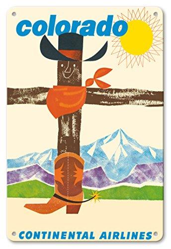 Pacifica Island Art 22cm x 30cm Vintage Metallschild - Colorado - Continental (Fluggesellschaft) - Cowboy Hut, Bandana, Cowboy Stiefel - Vintage Retro Fluggesellschaft Reise Plakat c.1960
