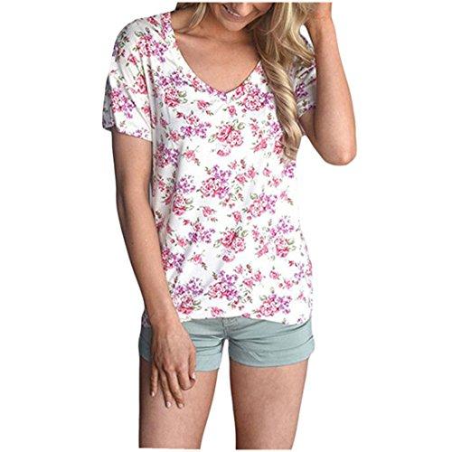 BZLine - T-shirt à Motif Floral en Polyester - à Manches courtes - Femme B