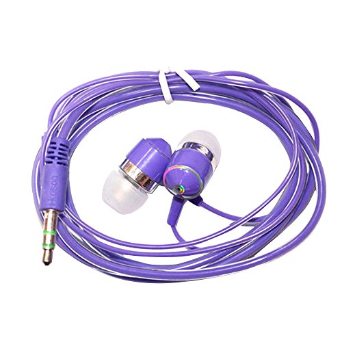 Cuitan New Crystal Cable Universal 3.5mm Plug In Ear Headphone Cellphone Music Movie Earphone Headset Wired Earphone with Microphone for iPhone, Xiao Mi, Moto, Meizu, Samsung - Purple