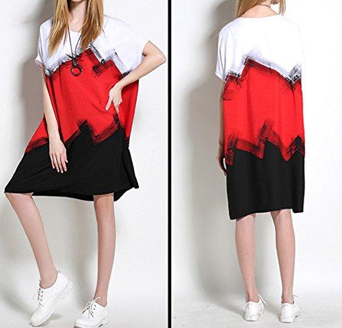 Herbst Damen Reizvolle Loose Knielang Kleid Lässig Rundkragens Grosse Grössen Blusenkleider Freizeitkleid Weiß