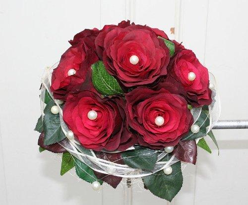 floristikvergleich.de Brautstrauß Biedermeier Seidenblumen Strauß roten Rosen Hochzeit Farbe rot #41748