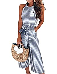 Clothing, Shoes & Accessories Jumpsuits & Rompers 2019 Fashion Stunning London Collection Striped Print Boho Jumpsuit Trousers Pockets Size 12