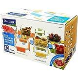 Glasslock–Juego de cajas de almacenamiento de alimentos recipientes de vidrio 18unidades, con tapas, multicolor y horno