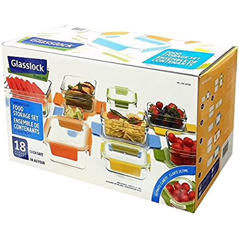 Glasslock Premium Food Storage Glass Containers Boxes 18 Piece Set Assorted with Lids, Multi-color and Oven Safe
