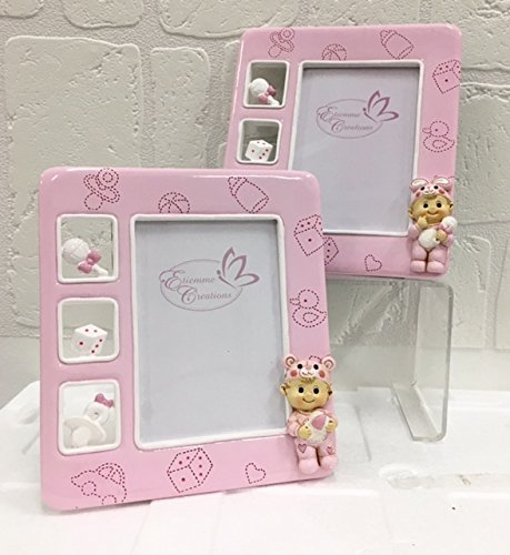 Cornice portafoto rosa resina 16x18 cm nascita bambina bomboniera battesimo
