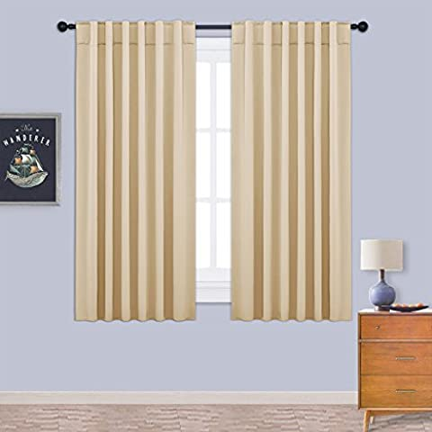 Blackout Curtains Drapes Window Treatments - PONYDANCE Thermal Insulated Solid Room Darkening Back Tab & Rod Pocket Curtain / Drape for Home Fashion, 52 Width by 63 Depth, 2 Panels, Beige