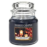 Yankee Candle 1510125E Autumn Night Kerze, Glas, blau, 9,5 x 9,5 x 13,8 cm