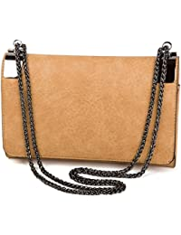 L. CREDI Damen Handtasche Anna Senf (orange braun): Amazon
