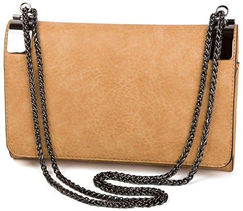styleBREAKER Bolso de Mano Clutch, Bolso de Fiesta con pasadores de Metal y Cadena de eslabones, diseño Vintage, señora 02012046, Color:Mostaza