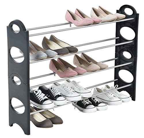 Iseaa scarpiera salvaspazio scaffale a 4 ripiani capazita fino a 20 paia di scarpe scaffali portascarpe cabina guarderoba 90x20x64 cm
