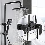 YLG Duschsystem, Platz Duschset, Brausen- und Duschsysteme, ABS Duschköpfe und Handbrausen, mit Spritzpistole, Höhenverstellbar, Schwarz