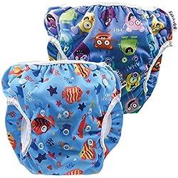 Fakiku Costume de Confinement Lot de 2 Couches pour bébé 0-36 réglables, lavables et réutilisables, pour Piscine et mer Bleu Blu Mare Taille Unique