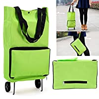 Sorliva Grocery Bag,Green Protable Shopping Trolley Tote Bag,Foldable Cart Rolling Grocery Wheels!