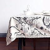 Mappa del mondo tovaglia europea funzionale tovaglia Lace Edge lino e cotone copertura per tavolo rettangolare tavolo da pranzo copertura lavabile Table Protector per festa di nozze decorazione domestica, Grey, 140x250cm (55x98 inch)