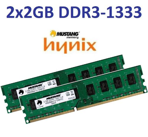 4GB Dual Channel Kit Mustang / Hynix original 2 x 2 GB 240 pin DDR3-1333 (1333Mhz, PC3-10600, CL9) DIMM 128Mx8x16 double side für DDR3 + i5 Mainboards - 100% kompatibel zu 1066Mhz, PC3-8500, CL7 (Channel 10666 Dual Desktop Kit)