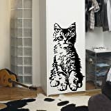 INDIGOS WG20522-70 Wandtattoo w522 süße Katze Wandaufkleber 96 x 49 cm, schwarz