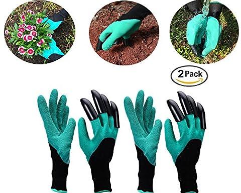 Cadeau pour la fête Lot de 2Jardin Genie Gants pour homme et femme à portée de main droite griffes facile et rapide pour creuser et plantes, sans danger pour Rose d'élagage, chambre d'enfant plantes, Waterproof- Vu à la Télé