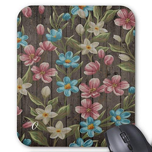 Wood Look with Flowers Mouse Pad Rectangle Non-Slip Rubber Personalized Mousepad Gaming Mouse Pads