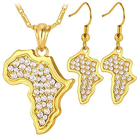 MESE London Africa Map Necklace And Earrings Set 18K Gold