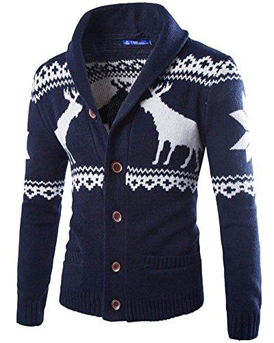 Herren Pullover Cardigan Schön Aufdruck Herbst Winter Knitted Strickjacke Marine