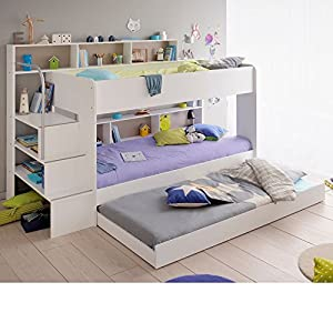 Storage Bunk Bed with Trundle Guest Bed, Happy Beds Bibop 2 White Wood Modern Triple Sleeper