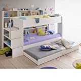 Happy Beds Wooden Bunk Bed with Underbed Storage Drawer, Bibop 2 White Wood Modern Twin Sleeper - Euro Single (90 x 200cm) with 2 x Spring Mattresses Included