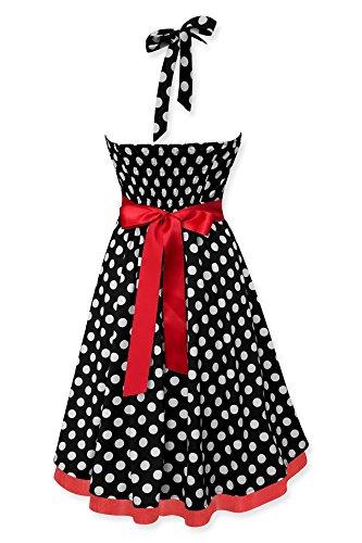 Black Butterfly Robe Années 50 Vintage À Pois 'Rhya' Noir - Pois Blancs