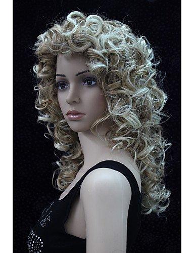 Perruque & xzl Perruques Fashion nouvelle mode charme 50cm fraises mélange blonds pointe perruque blonde frisée synthétiques femmes