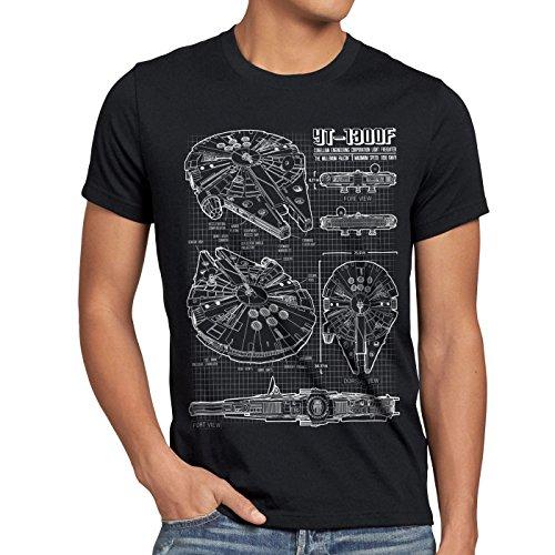 style3 Halcón Milenario Cianotipo Camiseta para Hombre T-Shirt Fotocalco Azul, Talla:3XL;Color:Nero