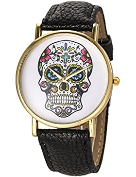 Denis Charm Womens Fashion Skull Ghost Head Leather Watch Damen Lässig Armbanduhr Legierung Der Totenkopf Quarz...