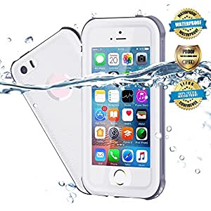 Waterproof iPhone 5/5S/SE Case, EFFUN IP68 Certified Waterproof Underwater Cover Dustproof Snowproof Shockproof Case with Cell Phone Holder, PH Test Paper, Stylus Pen and Floating Strap White