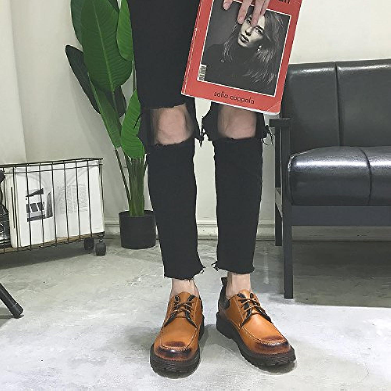 HL-PYL-Martin botas bajas All-Match Coreano Robot Retro Moda zapatos de hombre,43,amarillo