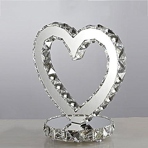 Ywyun Moderne herzförmige Kristall-Lampen, LED-Lampen dimmbar, dekorative Continental Hotel Schlafzimmer Wohnzimmer Sparlampe, 25 * 20cm