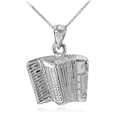 Halskette Solid 925 Sterling Silber Musik Akkordeon Musik Anhänger Halskette (Kommt mit einem 45cm Kette)