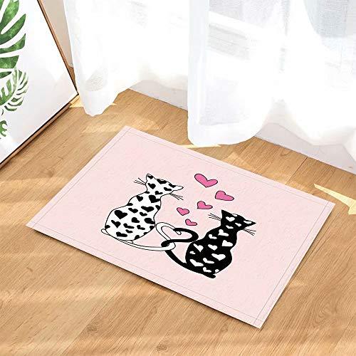 FEIYANG Happy Valentine's Day Badteppiche Romantische Doodle Paar Katzen in Herzen Rutschfeste Fußmatte Boden Eingänge Indoor Haustürmatte Kinder Badmatte 60X40CM Bad-Accessoires -