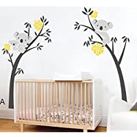Bdecoll Vinilos decorativos/Árbol de 3 Koalas adhesivos vinilo de niños/habitación Guardería infantil Bebé decoración (amarillo)