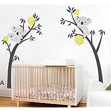 BDECOLL 3 Koalas tree Branches Wall Decal Wall Sticker Baby Nursery Decor Kids Room/Koalas vinilo pared pegatinas para niños habitación Guardería infantil Bebé decoración (Yellow)