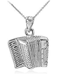 "Solid 925 Sterling Silver Music Accordion Music Pendant Necklace (Comes with an 18"" Chain)"