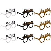 9 Pack New Year Eyeglasses 2021 Celebration Glasses Party Favor for 2021 New Year's Eve Party Decors