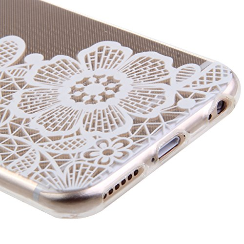 iPhone 6S Plus Hülle, iPhone 6 Plus Hülle, iPhone 6 Plus/ 6S Plus Silikon Crystal Case Hülle mit Malerei Muster, SainCat Weiche Transparent Silikon Schutzhülle Hülle Gel Bumper Soft TPU Case Backcase  Drei Chrysantheme