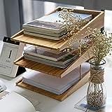 WWJYY Vani portaoggetti Vassoio per Lettere Sistema di organizzazione, Vassoio per Documenti in Legno, Vassoio per Carta A4, Ufficio, scrivania, Piatto, Vassoio per Lettere in bambù Naturale