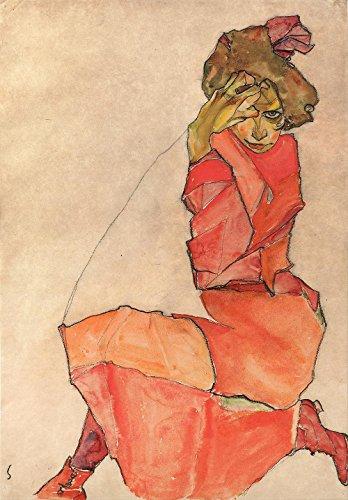 Das Museum Outlet–Egon Schiele–Kniende Frau in orangerot Kleid–Leinwanddruck Online kaufen (76,2x 101,6cm)