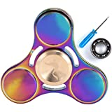 Syourself Titanium Alloy Tri-Spinner Hand Fidget Toy, +1 Replacement Stainless Steel Bearing- 5-7 mins High Speed & Quiet Spin EDC Focus Toy for Stress Relieve ADHD Anxiety Killing Time Adult Children