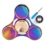 Syourself Titanium Alloy Tri-Spinner Hand Fidget Toy,+1 Replacement Premium Instainless Steel Bearing-5-7min High Speed, Quiet EDC Focus Toy for Stress Relieve Anxiety Adult Children(E Round Rainbow)