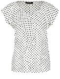 TAIFUN Bluse Kurzarm Bluse mit Tupfen-Print Off-White Druck 42