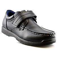 Us Brass Boys Hard Wearing Back To School Touch Fastening Black Formal Shoes Size 2-6 - Black - UK 3